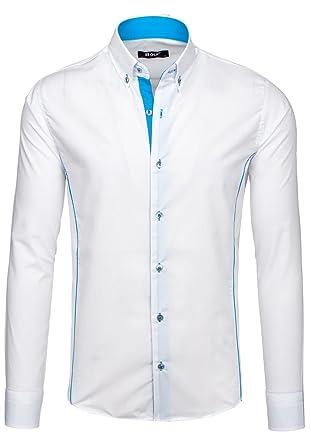 BOLF Herren Freizeithemd Herrenhemd Langarm Hemd Classic Slim Fit ... d97aecdbfd