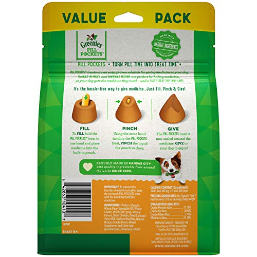 Large Product Image of GREENIES PILL POCKETS Capsule Size Dog Treats Chicken Flavor, 15.8 oz. Value Pack (60 Treats)