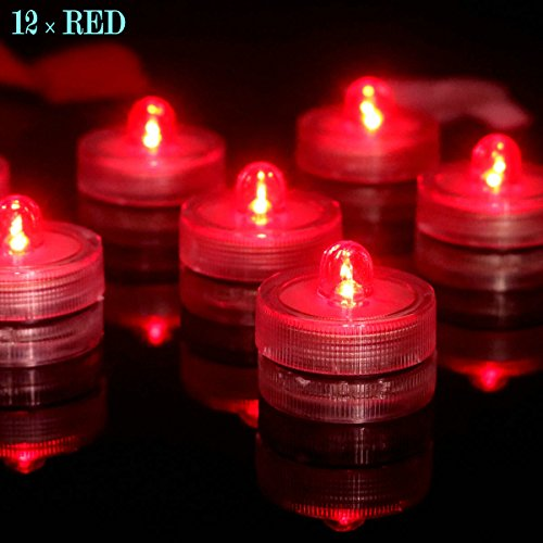 Bright LED Battery Operated Flameless Tea Light, Submersible Tea Candle Waterproof Decorations Underwater Vase Light for Party and Wedding, Pack of 12, Red