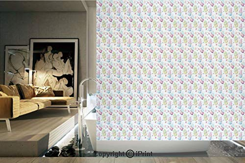 (Decorative Privacy Window Film/Cupcakes Sweets Strawberry Cream Pattern Retro Vintage Art Home Cafe Design/No-Glue Self Static Cling for Home Bedroom Bathroom Kitchen Office Decor White Blue Pink)
