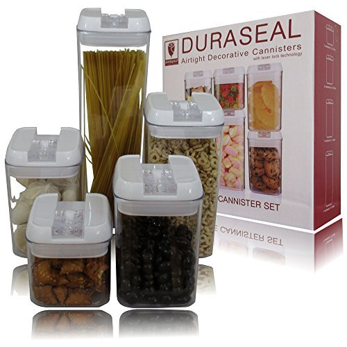 Airtight Food Storage Container Set Airtight Lid 5 Piece Stackable Decorative Counter Top BPA Free Food Safe...