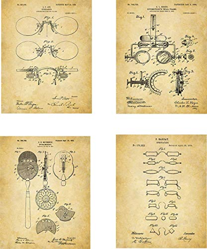 - Optometry Patent Wall Art Prints - set of Four (8x10) Unframed - wall art decor for optometrists