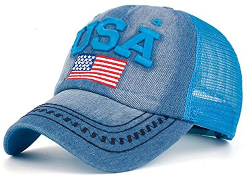 YAKER Washed Denim American Flag Embroidered Operator Cap Baseball Hat (one Size, Mesh Blue) -