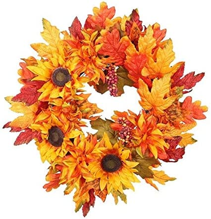 Christmas Thanksgiving Autumn Color Garland Window Restaurant Home Maple Leaf Decoration Ornaments Holiday Pendant Wreath - as Show Christmas Wreath