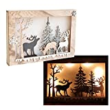 DecentGadget Wooden Christmas Ornament Light With 8 Pieces Warm White LED Home Decoration