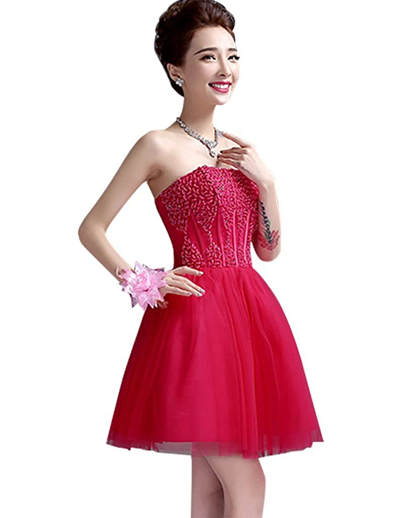 Drasawee Womens Short Tulle Beaded Evening Dress Strapless Bridesmaid Homecoming Prom Party Dress Rosy Red UK18: Amazon.co.uk: Clothing