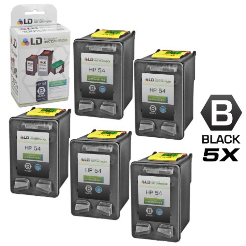 (LD Remanufactured Ink Cartridge Replacement for HP 54 CB334AN High Yield (Black, 5-Pack))