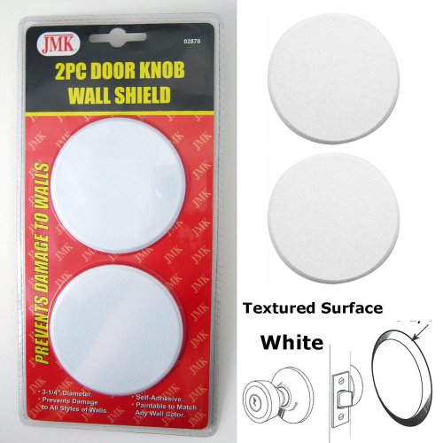"3¼"" White Vinyl Door Knob Wall Shield Protector, 4 Pcs"