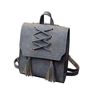 Xiuy Grandes Mochilas Escolares Vintage Flecos Mochilas Cuero Waterproof Backpack Color sólido Mochilas Tipo Casual Cuadrada Viajes Bolsas para Mujeres: ...