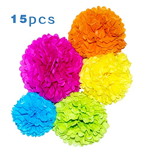 Paper Pom Poms - 15 pcs of 10, 12, 14 Inch - Paper Flowers - Perfect For Wedding Decor - Birthday Celebration - Wedding Party and Outdoor ()