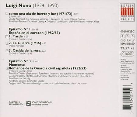 España En El Corazon-Como Una Ola De Fue: L. Nono: Amazon.es: Música