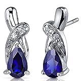 Created Sapphire Drop Earrings Sterling Silver