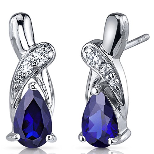 Created Sapphire Sterling Silver Earrings - 5