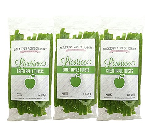 Green Apple Licorice - 3 PACK - FAT FREE Old Fashioned Gourmet Licorice Twists - A Must Try Quality Licorice Candy with Unique Flavor Unlike Any Other - 1 1/2 -