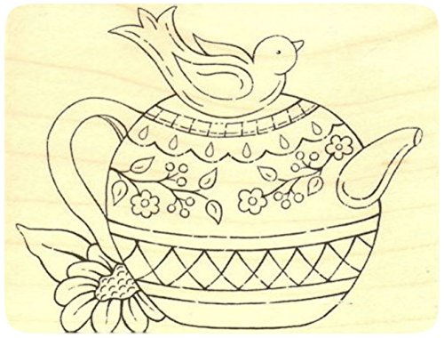 """{Single Count} Unique & Custom (3 1/4"""" by 2 3/4"""" Inches) """"Bird Teapot & Sunflower"""" Rectangle Shaped Genuine Wood Mounted Rubber Inking Stamp"""