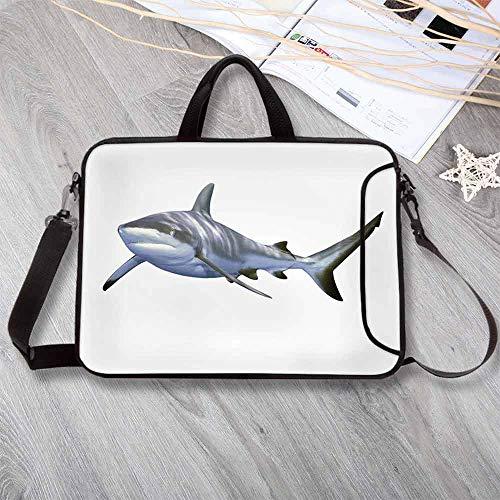 "- Shark Portable Neoprene Laptop Bag,A Large Reef Shark Swimming Futuristic Computer Art Stylized Underwater Design Decorative Laptop Bag for Travel Office School,15.4""L x 11""W x 0.8""H"