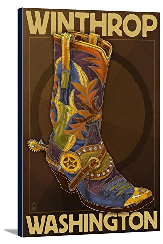 (Winthrop, Washington - Boot Design (12x18 Gallery Wrapped Stretched Canvas))
