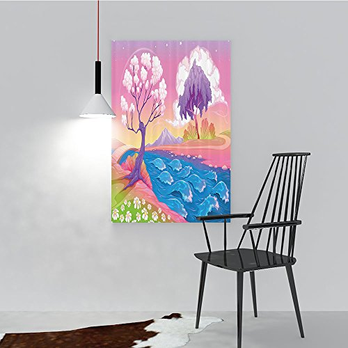 Philip C. Williams Modern Wall Art Decor Frameless Astral Landscape with Fictial ntasy Trees and River Waves Daisy Magical for Home Print Decor for Living Room W24 x H36 ()