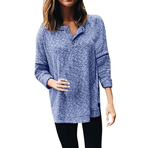 (Mnyycxen Womens Shirts Casual Tee Shirts V Neck Long Sleeve Button Up Loose Fits Tunic Tops Blouses)