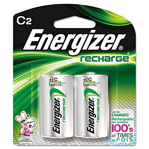 Energizer NH35BP2 NiMH Rechargeable Batteries, C, 2 Batteries/Pack