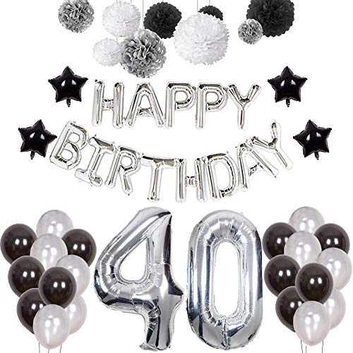 40th Birthday Decorations, Puchod Happy Birthday Banner Number 40 Foil Ballon Party Decorations Set with Tissue Paper Pom Pom Balls Black & Sliver for Men