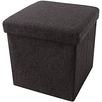 SONGMICS Linen Like Storage Ottoman Cube Folding Footrest Stool Charcoal  Brown ULOT10K