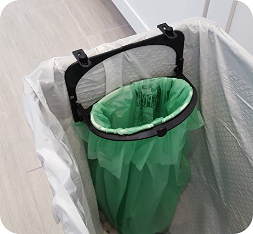The Ultimate Compost Bin Alternative & Compostable Bags, For Kitchen Organic Waste Collection, By Hoop Compost (Black) - Organic Compost Bin