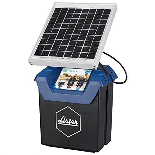 Lister Weidezaungerät WZG 9.07 S, 12 Volt Akkugerät mit Solarpanel inkl. Akku, Anschlusskabel und Erdstab