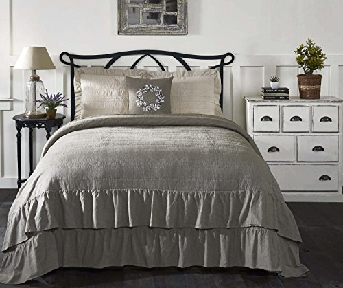 Piper Classics Ruffled Chambray Reversible Luxury King Quilt, Oversized, 105