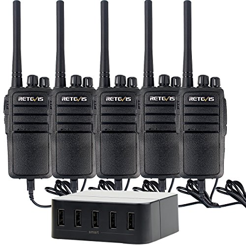 Retevis RT21 Walkie Talkies Rechargeable 16CH UHF 400-480 MHz FRS Two Way Radio( 5 Pack) with 40W 8A 5-Port USB Charger by Retevis