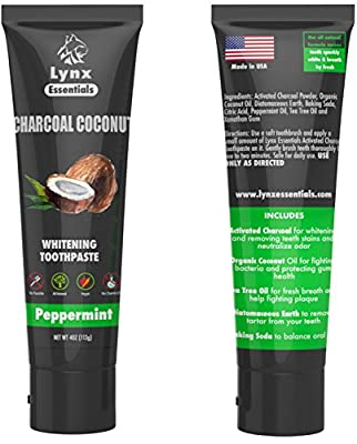 Activated Charcoal Teeth Whitening Toothpaste with Organic Coconut Oil and Active Carbon Powder - Made in USA using Natural Ingredients - Remove Tooth stains & Bad Breath