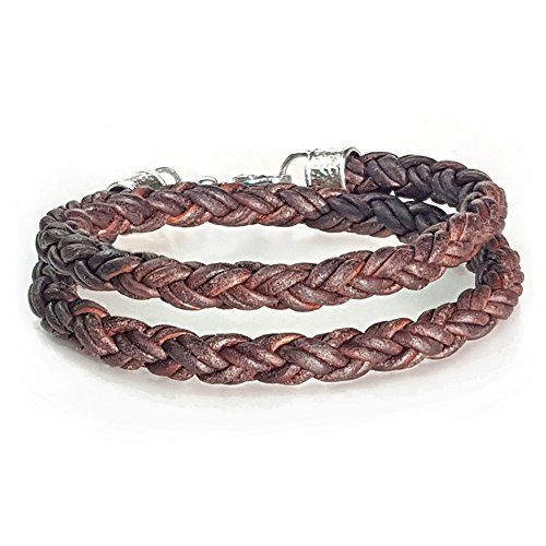 (BROWN Braided Leather Rope Bracelet for Men & Women- DOUBLE WRAP- Lucky Dog Leather- Genuine Leather- All Sizes for a Great Fit 8