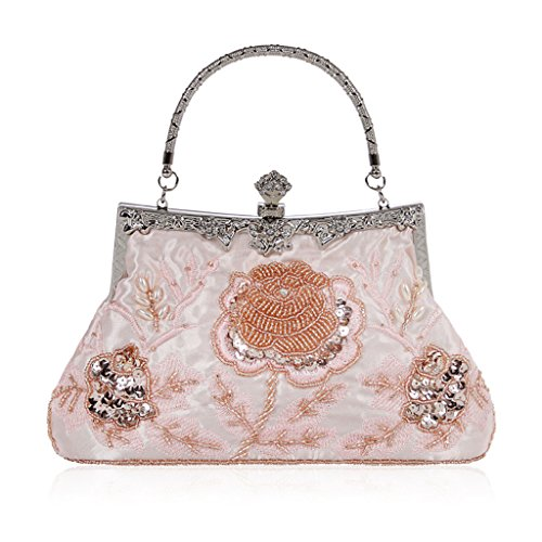 Evening Red Vintage Style Champagne Floral Wedding Bag Prom Party Handbag Beaded Purse Shoresu Clutch fIHwAq