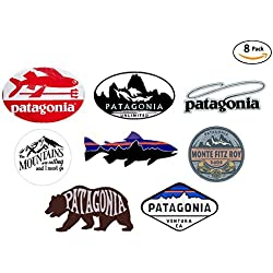 8 sticker set - VALUE PACK - Patagonia Monte Fitz Roy Perca Trucha (Percichthys trucha) - stickers travel adventure awaits wanderlust symbol window mountain motorcycle car - Made and shipped in USA