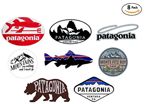 - 8 sticker set - VALUE PACK - Patagonia Monte Fitz Roy Perca Trucha (Percichthys trucha) - stickers travel adventure awaits wanderlust symbol window mountain motorcycle car - Made and shipped in USA