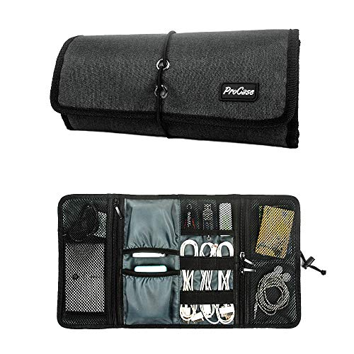 ProCase Accessories Bag Organizer, Universal Electronics Travel Gadgets Carrying Case Pouch for Charger USB Cables SD Memory Cards Earphone Flash Hard Drive -Black