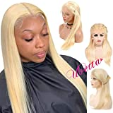 Blonde Full Lace Front Wig Straight Human Hair Pre Plucked Wig for Women 150% Density Glueless Transparent Full Lace Wig Free Part 613 Colored Lace Wig with Baby Hair for Braid and High Ponytail 14'