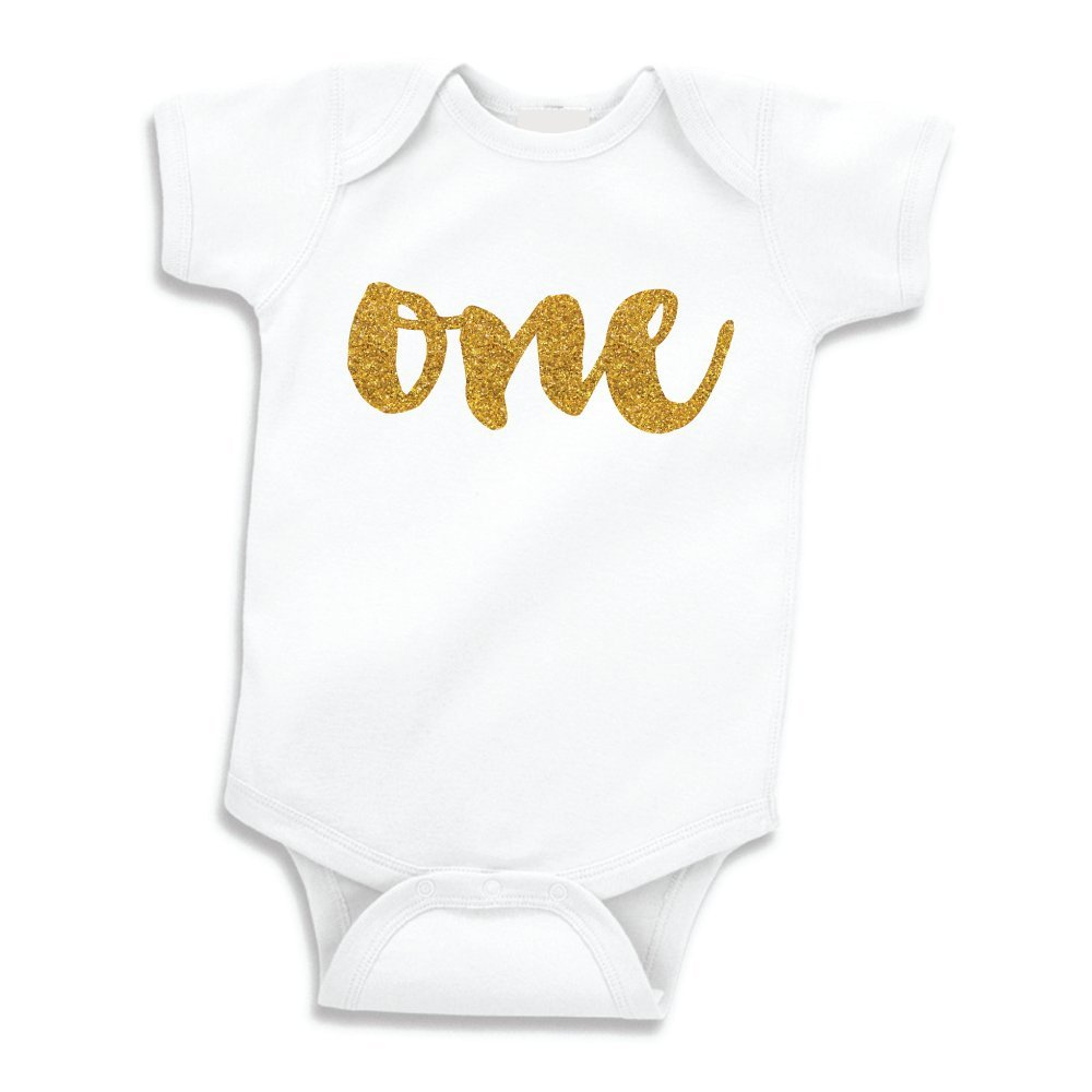 Baby Girl First Birthday Outfit Girls One Year Old Shirt Gold Glitter 12 18 Months