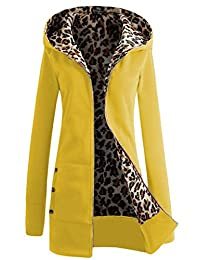 DOKER Women's Winter Thick Leopard Print Zip up Hoodie Coat