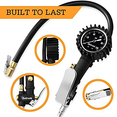 AstroAI Upgraded 100 PSI Tire Inflator with Pressure Gauge, Heavy Duty with Large 2