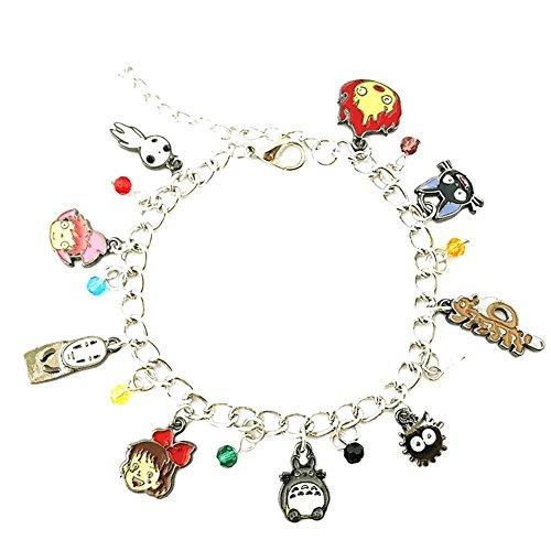 Studio Ghibli Cosplay Costumes - Studio Ghibli Silver Tone Cartoon Comic Logo Charm Bracelet w/Gift Box by Superheroes