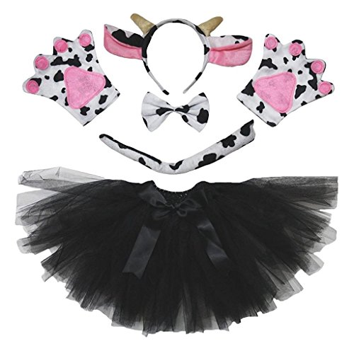 Petitebella Animal Headband Bowtie Tail Gloves Tutu 5pc Girl Costume (Cow) -