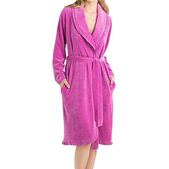 Hibote Mujeres Ropa de Dormir Ropa de Dormir Kimono Robe Fleece Albornoces de Manga Larga Suave Vestido Largo Batas de Baño Rose L: Amazon.es: Ropa y ...