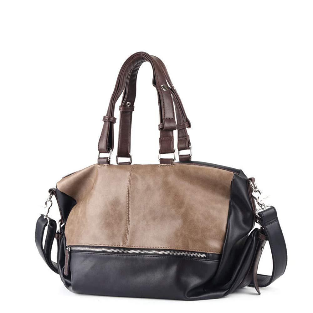 New Mens Handbag Fashion Retro Messenger Bag Travel Shoulder Bag Two Sides Stitching Big Bag