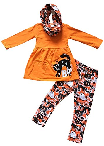 (Little Girls' 3 Pieces Set Halloween Boo Cat Top Pants Scarf Kids Outfit Orange 5 L)