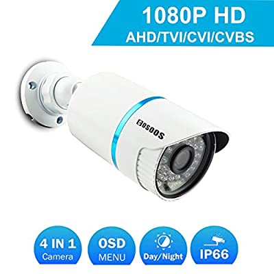 COSOOS 1080P 1920TVL Bullet Security Camera, 2.0 Megapixel Hybrid 4-in-1 HD-TVI/CVI/AHD/CVBS Waterproof Outdoor/Indoor Surveillance Camera, 3.6mm Lens 48 LED 130ft Night Vision, Metal Housing Silver by COSOOS