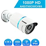 COSOOS 1080P 1920TVL Bullet Security Camera, 2.0 Megapixel Hybrid 4-in-1 HD-TVI/CVI/AHD/CVBS Waterproof Outdoor/Indoor Surveillance Camera, 3.6mm Lens 48 LED 130ft Night Vision, Metal Housing Silver