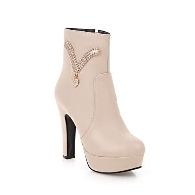 Women's Low Top Solid Zipper Round Closed Toe High Heels Boots with Charms
