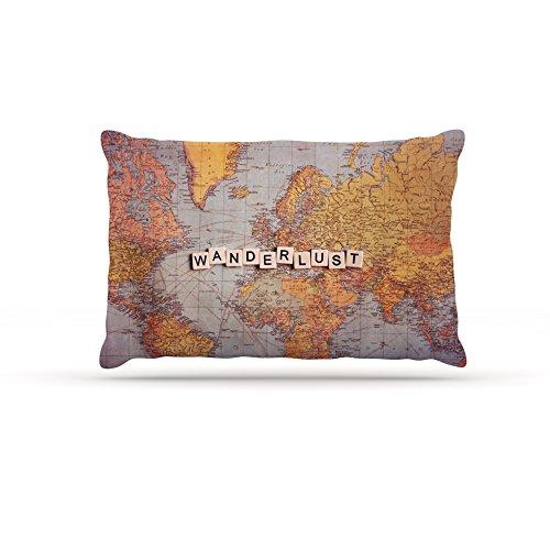 Kess InHouse Sylvia Cook Wanderlust Map  Fleece Dog Bed, 50 by 60 , World