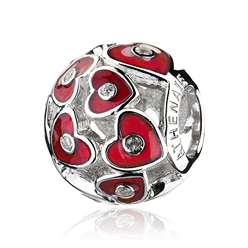ATHENAIE 925 Sterling Silver Pave Clear CZ Red Enamel Abundance of Love Bead Charms